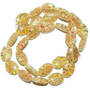 """G2986 Yellow-Green with White & Red Flower 14mm Oval Millefiori Glass Bead 15"""" Making Beading Beaded Necklaces Yoga Bracelets"""