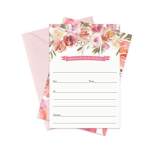 Blushed Floral Party Invitations and Envelopes - Set of 15