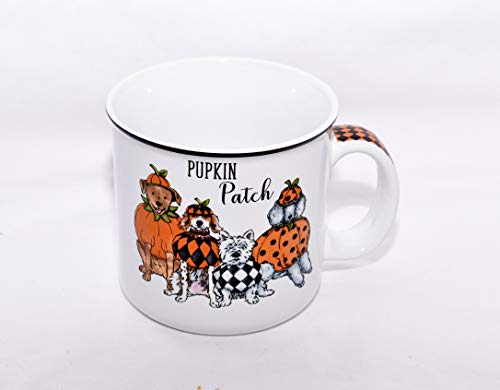New 18oz Halloween Pumpkin Patch Dogs in Costume Poodly, Westie, Beagle, Lab Ceramic Coffee Mug Cup ()
