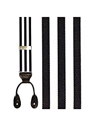 Navy and White Striped Suspenders