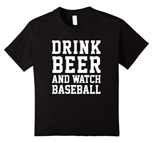 Kids Drink Beer and Watch Baseball Funny Sports Humor Saying Tee 8 Black
