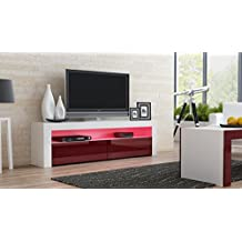 TV Console MILANO Classic WHITE - up to 70-inch flat TV screens – MULTICOLOR 16 RGB LED light system and High Gloss finish front doors – Mesa TV Milano para televisores hasta 70 pulgadas