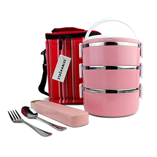 Eco Friendly Lunch Bags (Stackables Pink Lunch Box | Container Bag with Utensil | Eco-Friendly | Biodegradable Wheat Straw Material | Thermos Bento Box | Food Prep Storage | Stainless Steel)