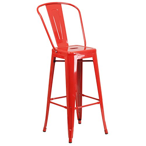Flash Furniture 30'' High Red Metal Indoor-Outdoor Barstool with Back ()