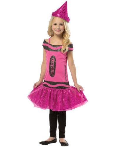 Crayon Box Dress Teen Costumes (Rasta Imposta Crayola Shimmering Blush Glitz & Glitter Dress, Pink, Tween 10-12)