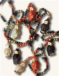 Victorian Trading Co. Glitter Owls Halloween Garland Black & Orange Blown Glass