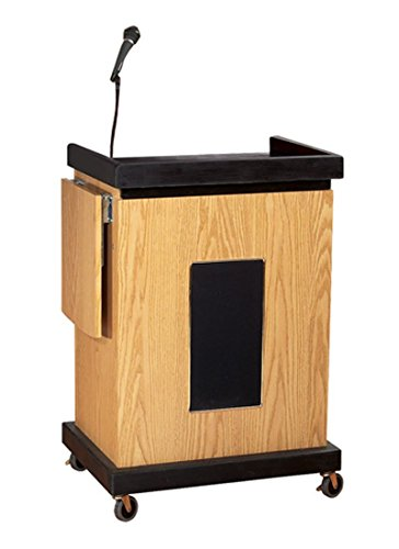 - Oklahoma Sound School Office Church Pulpit Smart Sound Lectern Media Workstation Cart with Storage Cabinet Side Stand Light Oak electronic consumers