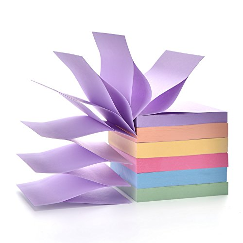 Pop up Notes 3 in x 3 in Self Sticky Notes Pads, 6 Pack Candy Color Easy Post Notes 100 Sheet per Pad 600 Sheet Total,Individual (Purple Post)