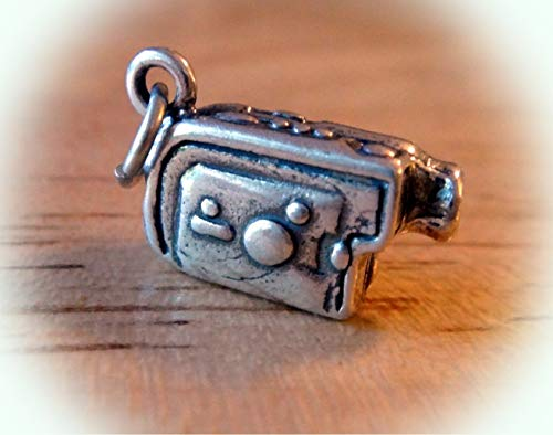 1 Sterling Silver 3D 8x14x6mm Solid Video Camera Camcorder Charm Vintage Crafting Pendant Jewelry Making Supplies - DIY for Necklace Bracelet Accessories by CharmingSS