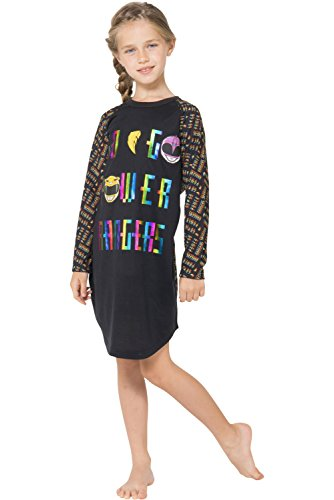 Power Ranger Girls' Little Go Raglan Nightgown, black, 6/6X ()