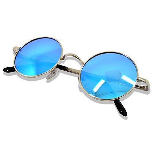 Cadre par WHCREAT Rétro 400 de Bleu soleil Ronde pour des ressort Protection de Argenté Unisexe les Glace hommes charnière UV Polarisé Nouveau Lunettes femmes de 8Cr08qd