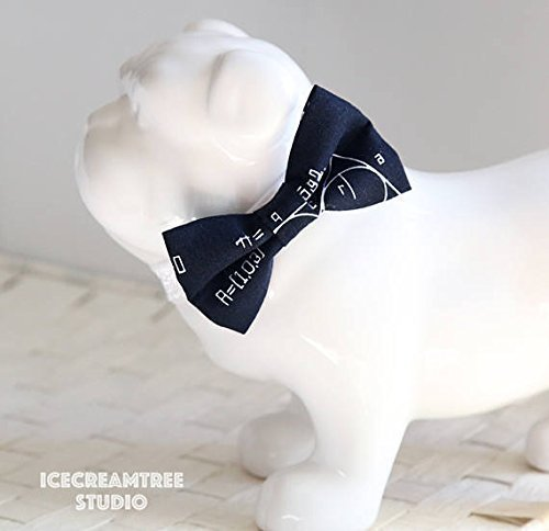 Black Physics Science - Bow Tie Collar Slide On, Collar Add On Bowtie, Bow Collar Accessories