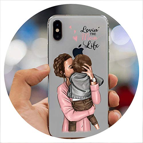 Lovely Boys Girls Mom Baby Princess Transparent Phone Case for iPhone 5 5S SE X XS XR Max 6 6S 7 8 Plus Soft TPU Back Cover,Style 10,for iPhone 6 6S Plus