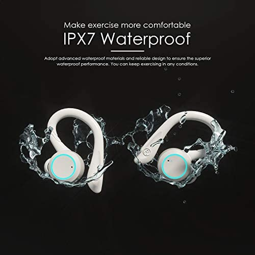 APEKX True Wireless Earbuds with Charging Case IPX 7 Waterproof Over Ear Bluetooth Headphones Built-in Mic Deep Bass Earphones for Sport Running - White