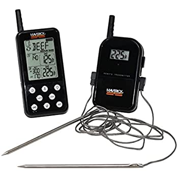Maverick ET-738 325 Ft Long Range Wireless Dual Probe BBQ Smoker Meat Thermometer with Larger Display and added Features - Black