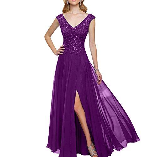 Abendkleider Spitze Langes mia Damen Violett Partykleider V Brautmutterkleider Brau Abschlussballkleider Promkleider Ausschnitt La XUqgwTf