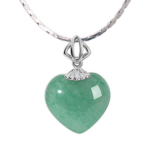 iSTONE Natural Gemstone Green Jade Aventurine Heart Pendant Necklaces 925 Sterling Silver Chain - Necklace Green Stone Natural Heart