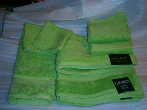 Ralph Lauren Greenwich 7 piece Towel Set APPLE / LIME Green; 2 Bath, 2 Hand 2 Washclots + 1 Bath/Tub Mat
