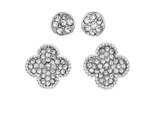(Rhodium Plated Pave Crystal Stud and Clover Earring Set)