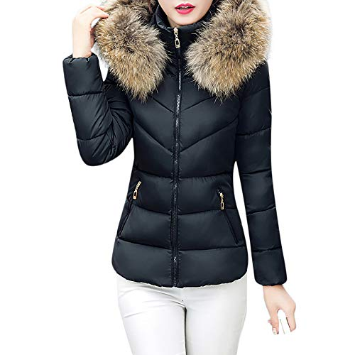 Clearance Sale! ANJUNIE Packable Down Coat, Women Thick Outerwear Hooded Short Slim Cotton-Padded Jackets Fur Collar Tops (Black,L)