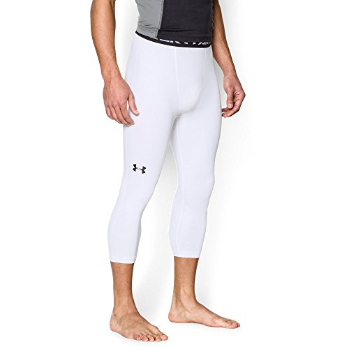 Under Armour Men's HeatGear Armour ¾ Compression Leggings, White/Steel, Large