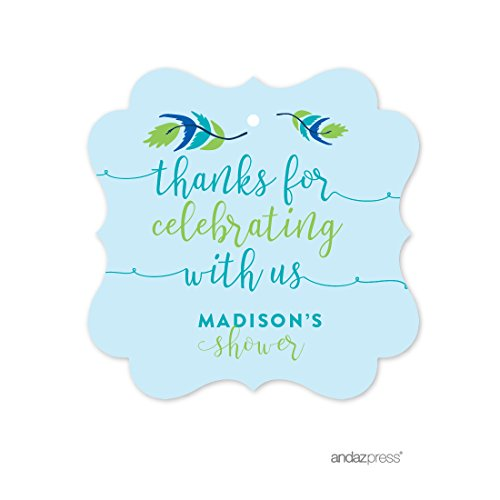 Andaz Press Tribal Bohemian Little Chief Blue Boy Baby Shower Collection, Personalized Fancy Frame Gift Tags, Thank You for Celebrating With Us, 24-Pack, Chloe's Bridal Shower Custom - Personalized Shower Tags Bridal
