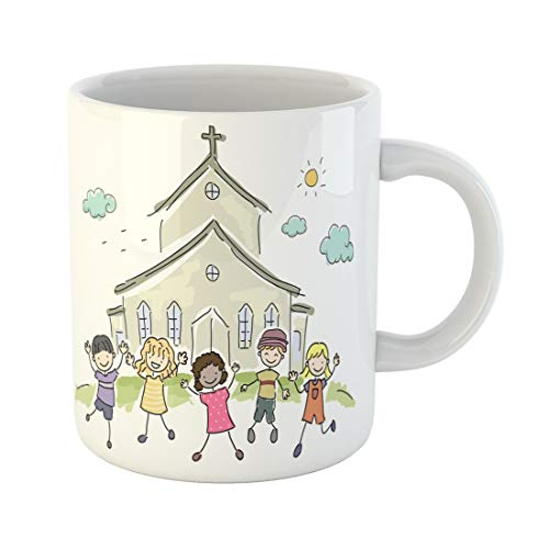 (Semtomn Funny Coffee Mug School Illustration of Kids Standing Happily in Front a Church 11 Oz Ceramic Coffee Mugs Tea Cup Best Gift Or Souvenir)