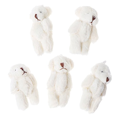 (CHBC 5PCS Kawaii Small Bears Plush Soft Toys Pearl Velvet Dolls Gifts Mini Teddy Bear (White))