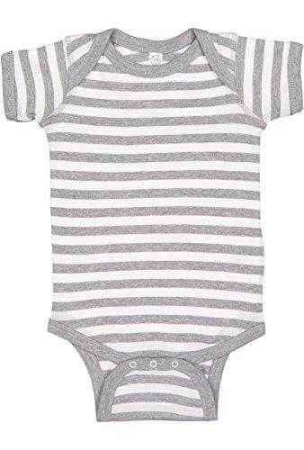 Rabbit Skins Infant 100% Cotton Baby Rib Lap Shoulder Short Sleeve Bodysuit (Heather/White Stripe, 18 - Baby Grey Stripe