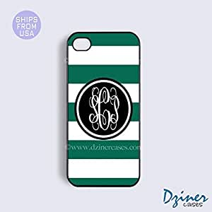 Monogram iPhone 5 5s Case - Green White Stripes Black Circle iPhone Cover