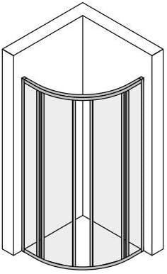 Mampara ducha acrilico semicircular apertura centrale dos hojas correderas aluminio blanco 75 x 75 cm, H 185 cm: Amazon.es: Bricolaje y herramientas