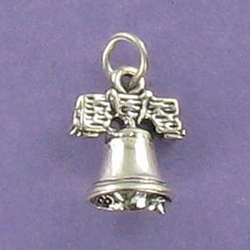 (Liberty Bell Charm Sterling Silver for Bracelet Philadelphia US Historical Crack Jewelry Making Supply, Pendant, Charms, Bracelet, DIY Crafting by Wholesale Charms)