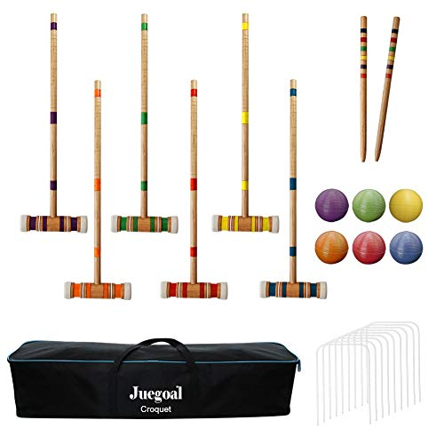 Juegoal Six Player Croquet Set with Carrying Bag, 26 Inch                                                 (Croquet Game)