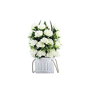 4 Colors 52Cm 3Pcs 27 Heads Silk Gerbera Daisy Chrysanthemum Artificial Flowers for Cemetery Grave Wedding Home Party Decoration,White 119