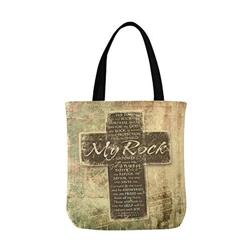 InterestPrint Christian Religious Bible Verse The Lord is My Rock Religious Canvas Tote Bag Tote Shopping Bag Washable Grocery Tote Bag, Craft Canvas Bag for Women Men Kids