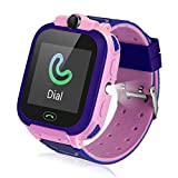 Fediman Kids Smart Watch, LBS Tracker, Watches for Kids 1.44'' Touch Screen with Games SOS Call Camera Flashlight Kids Watch, SIM Card Slot Compatible with iOS & Android (Pink)