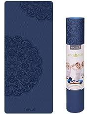 TOPLUS Preumium yogamat van hoogwaardige TPE, antislip, yogamat, gynastiekmat, oefenmat, sportmat voor yoga, pilates, fitness enz, afmetingen 183 cm lengte 61 cm breedte