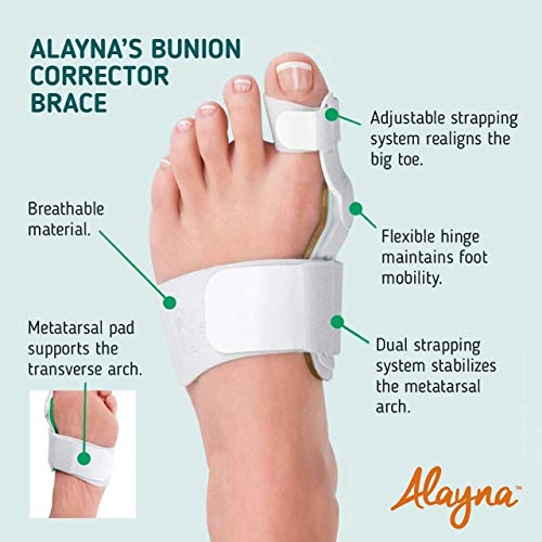 Bunion Corrector and Bunion Relief Orthopedic Bunion Splint Pads for Men and Women Hammer Toe Straightener and Bunion Protector Cushions- Relieve Hallux Valgus Foot Pain and Soothe Sore Bunions by Alayna (Image #3)