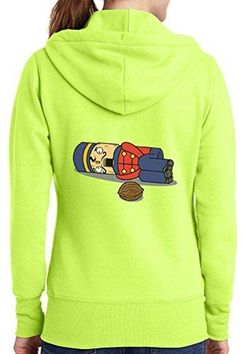 Womens Nut Cracker Full Zip Hoodie, Neon Yellow, 3X