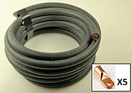 Black 10 Feet Crimp Supply Ultra-Flexible Car Battery//Welding Cable 1 Gauge and 5 Copper Lugs