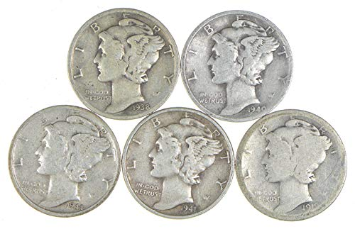 "5 Coin Lot Silver Mercury Dime. Beautiful Authentic""Fascist"" USA Coin With Fasces Same Symbol Later Used By Benito Mussolini Dime Circulated Graded by Seller"