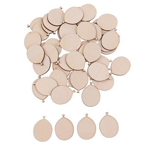 Jili Online 50pcs Funny Wooden Balloons Cutout DIY Craft Scrapbooking For Wedding Party]()