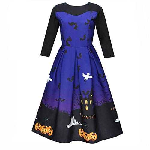 Pumsun ⭐️ Women Halloween Printing Three Quarter Casual Evening Party Prom Swing Dress (2XL, Blue)