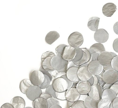 "Shiny Large Dots (Custom & Fancy {1"" Inch} Approx 7 to 8 Handfuls/1.76 oz of Large Round Circle ""Throwing"" Party Confetti Made of Premium Tissue Paper w/ Contemporary Modern Shiny Metallic Simple Dot Design [Silver])"