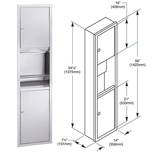 (Bradley 2252-10 Semi-Recessed Paper Towel Dispenser Waste Receptacle,)