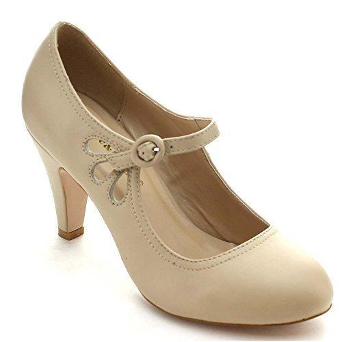 (Chase & Chloe Kimmy-21 Women's Round Toe Pierced Mid Heel Mary Jane Style Dress Pumps (5.5 B(M) US, Nude))