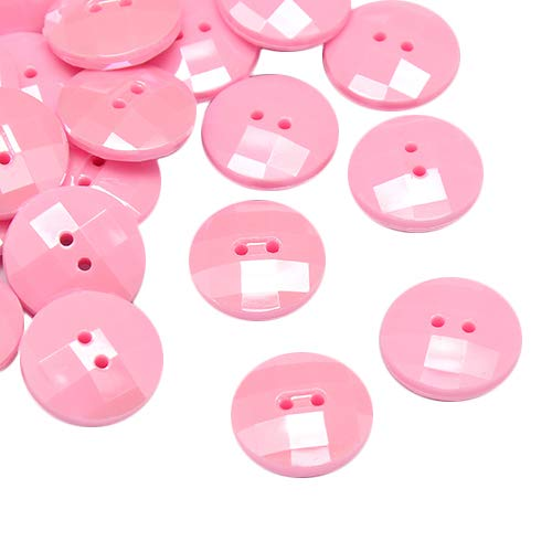 B.D craft 144 pcs Pearl Luster Plated Taiwan Acrylic Buttons Pearl Pink with Flat Round Faceted 2-Hole ()
