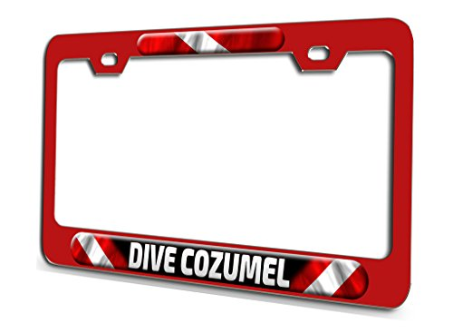 (DIVE COZUMEL Scuba Diving Red Steel License Plate Frame 3D Style)
