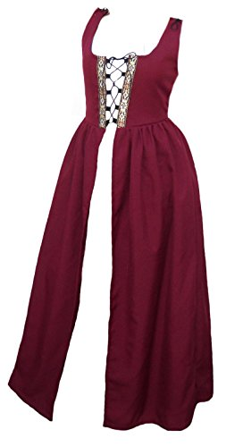 [Faire Lady Designs Women's Renaissance Costume Irish Over Dress Burgundy (2XL - Bust: 49