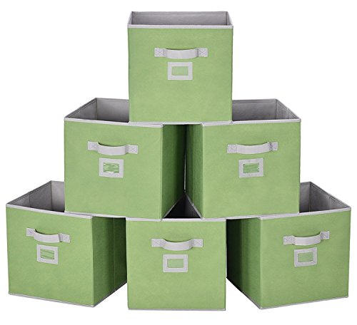 Storage Cube Box, Fabric Storage Bin By StorageWorks, Green, Large, 6-Pack, 11.8x11.8x11.8 inches (Labels Box Book)